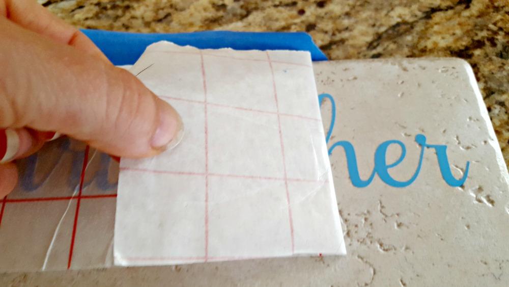 applying vinyl to a tile