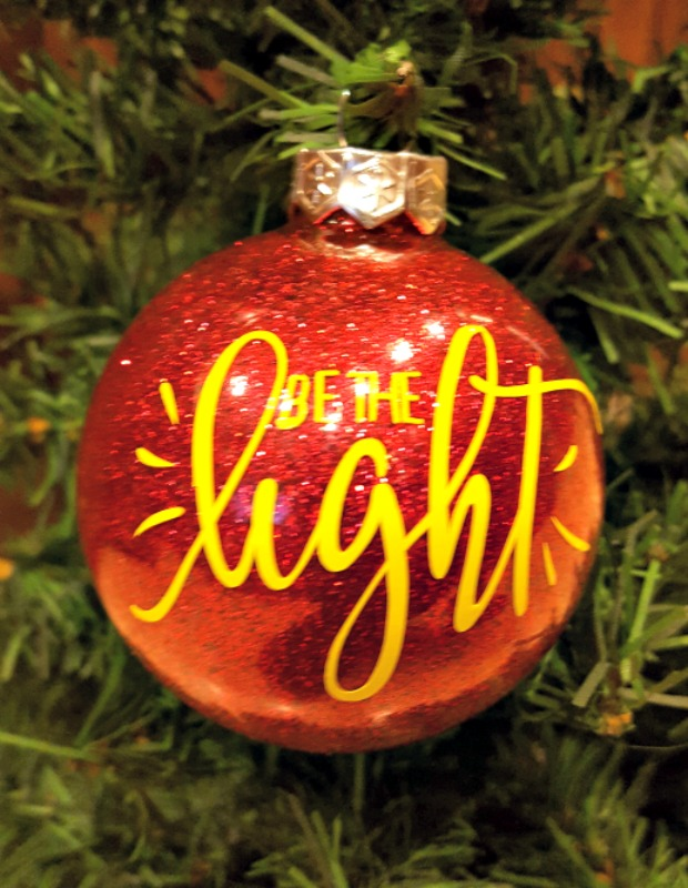 be the light glitter ornament