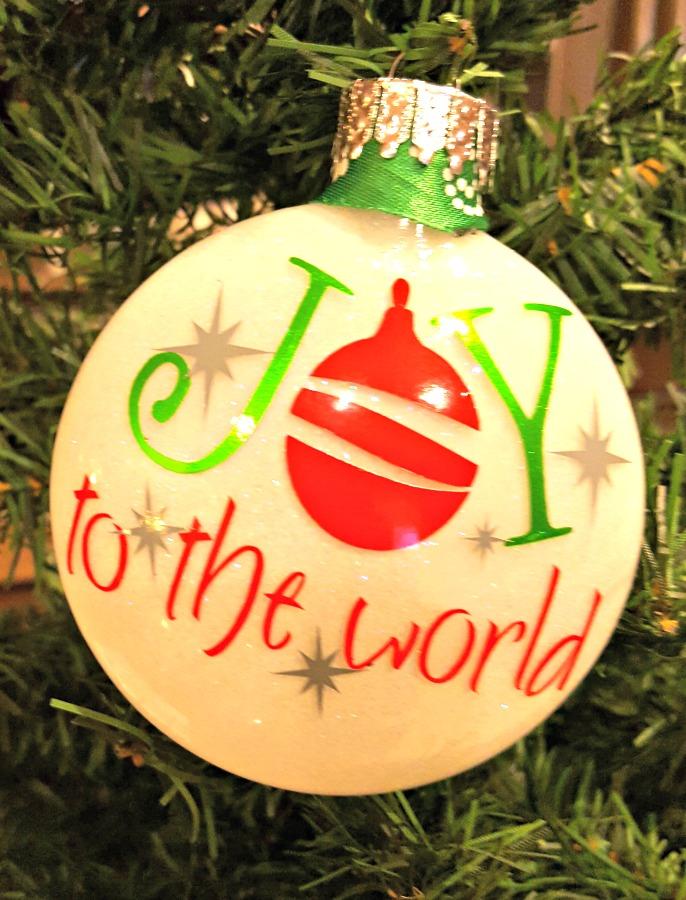 joy to the world glitter ornament