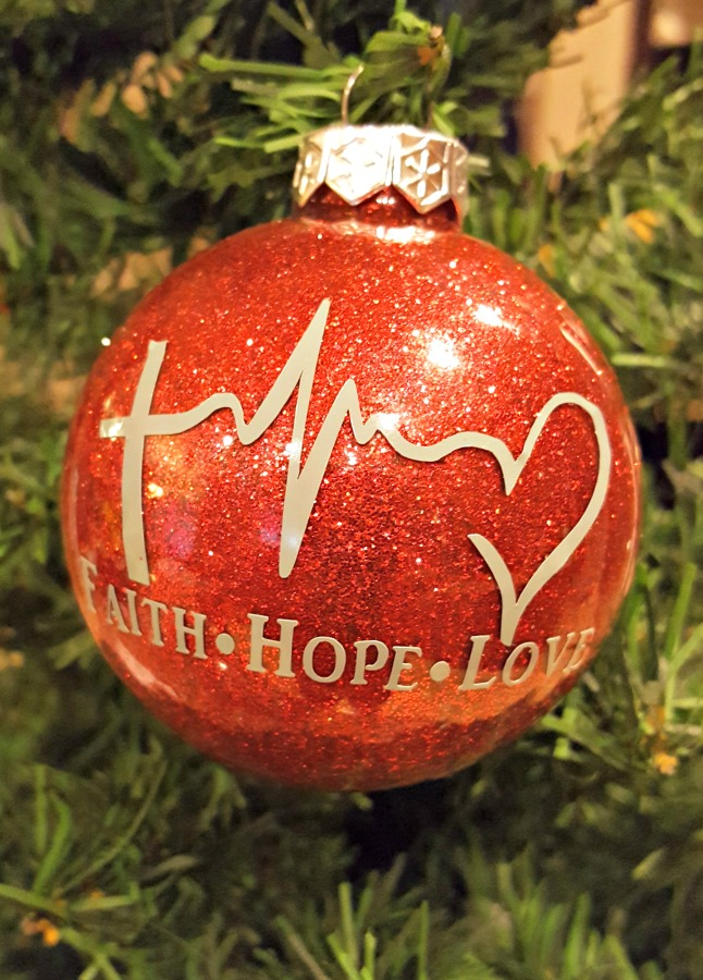 faith hope love red ornament with glitter