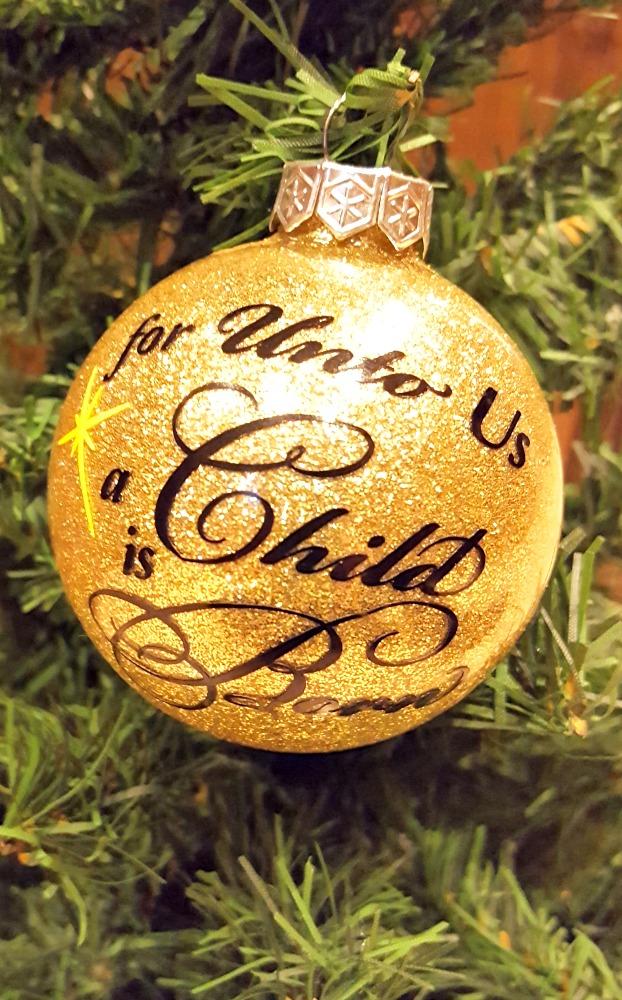 for unto us a child is born gold glitter ornament