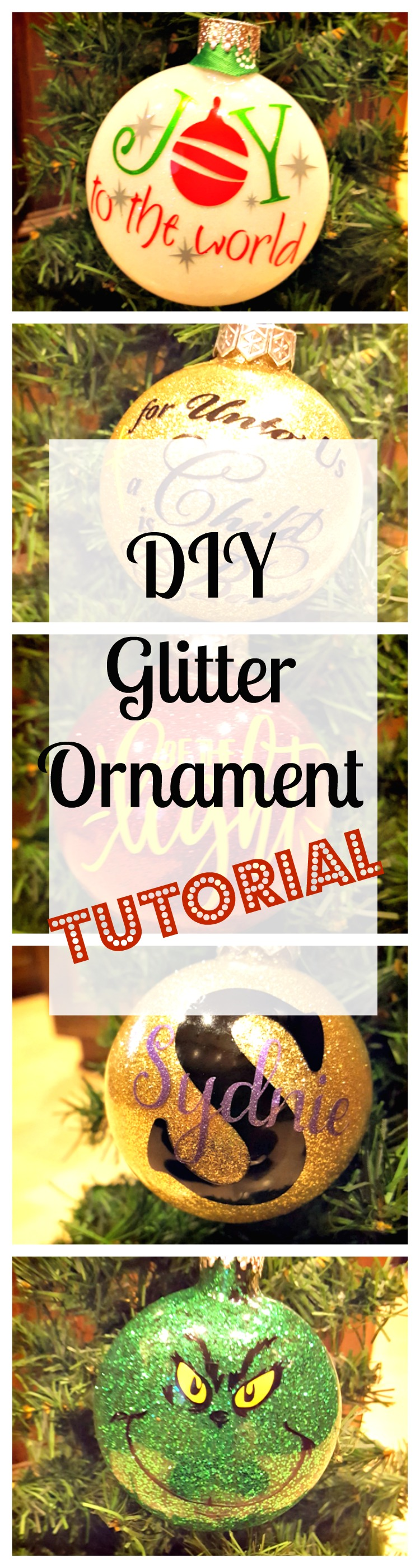 diy glitter ornaments with vinyl pinterest