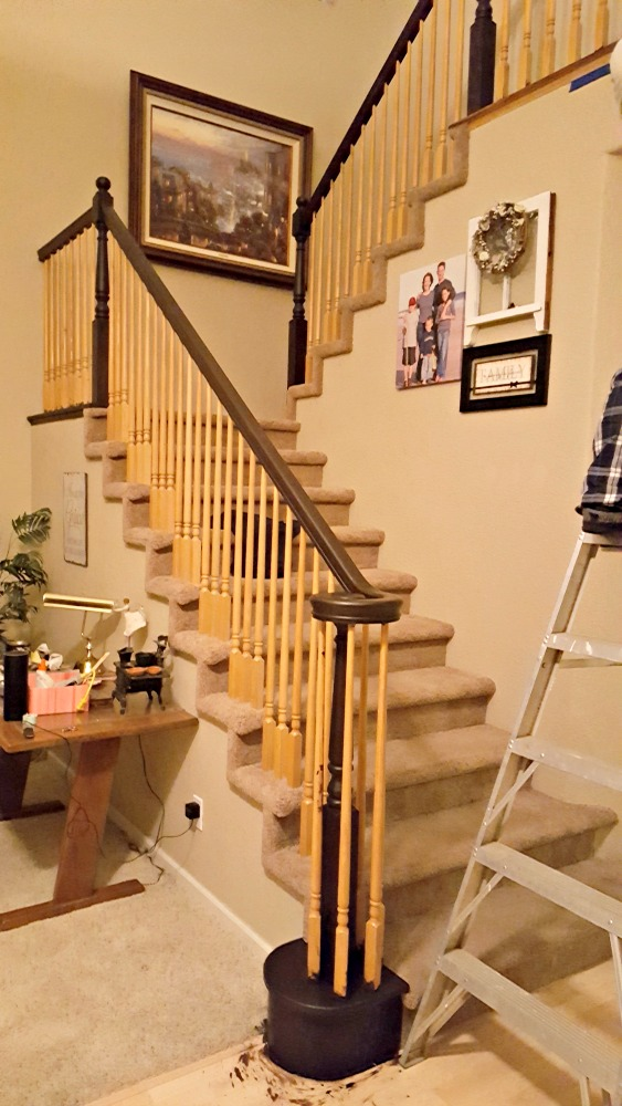 staircase refinishing after 3 coats of gel stain
