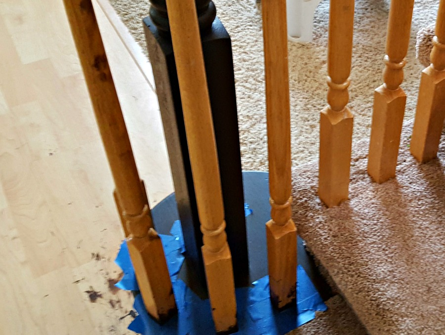 painting spindles with chalk paint