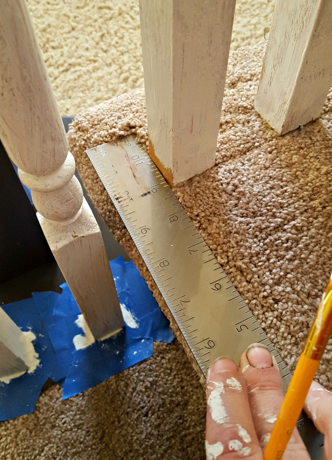 painting spindles in carpet