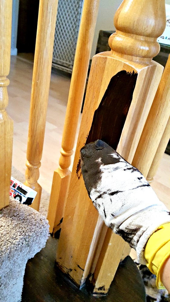 wiping gel stain on spindles