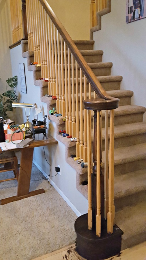 oak banister makeover with gel stain
