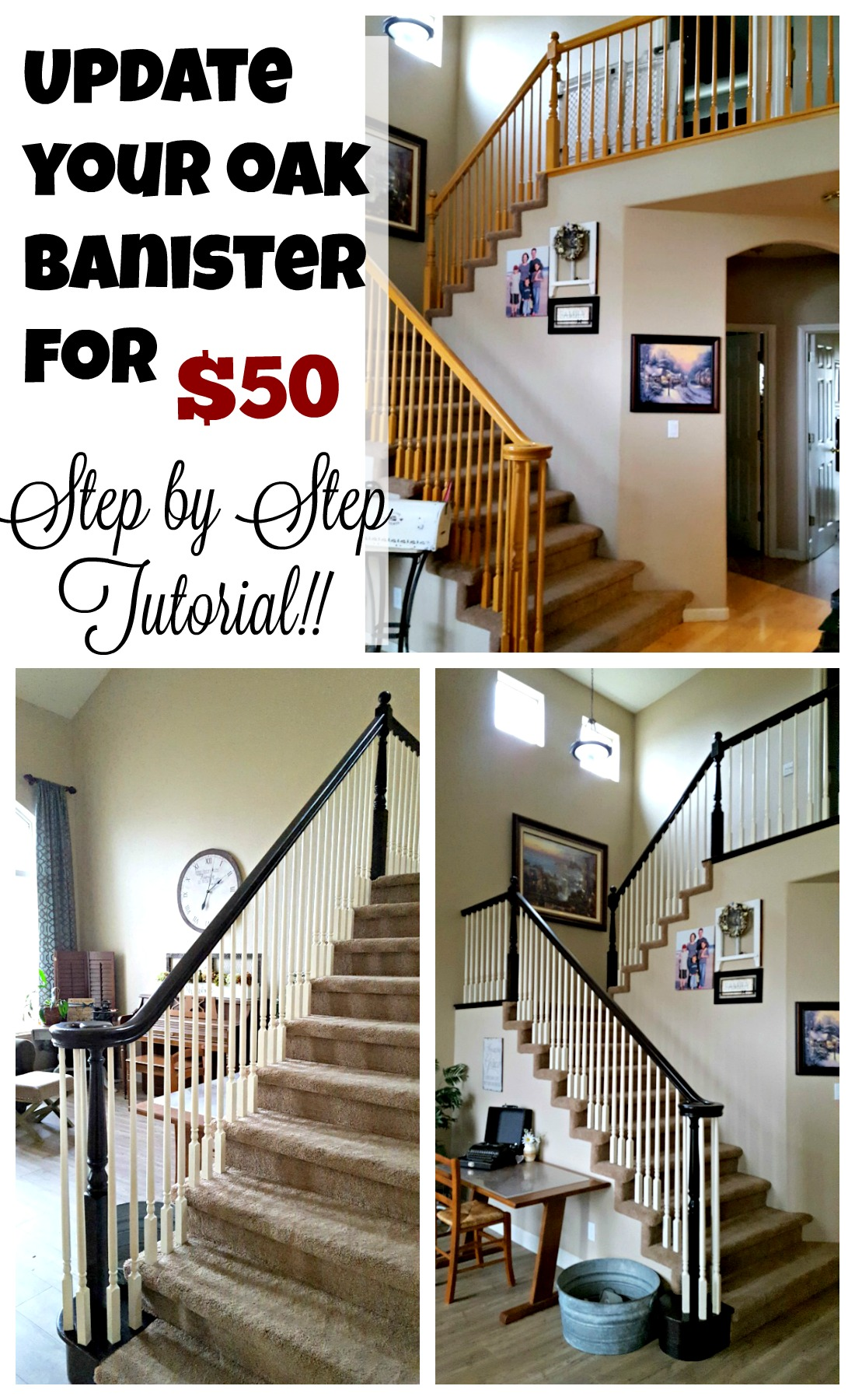 staircase refinishing before and after picture pinterest