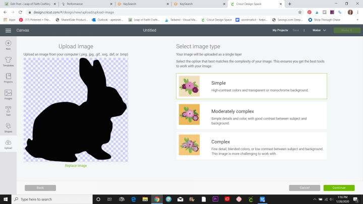 uploading png to cricut