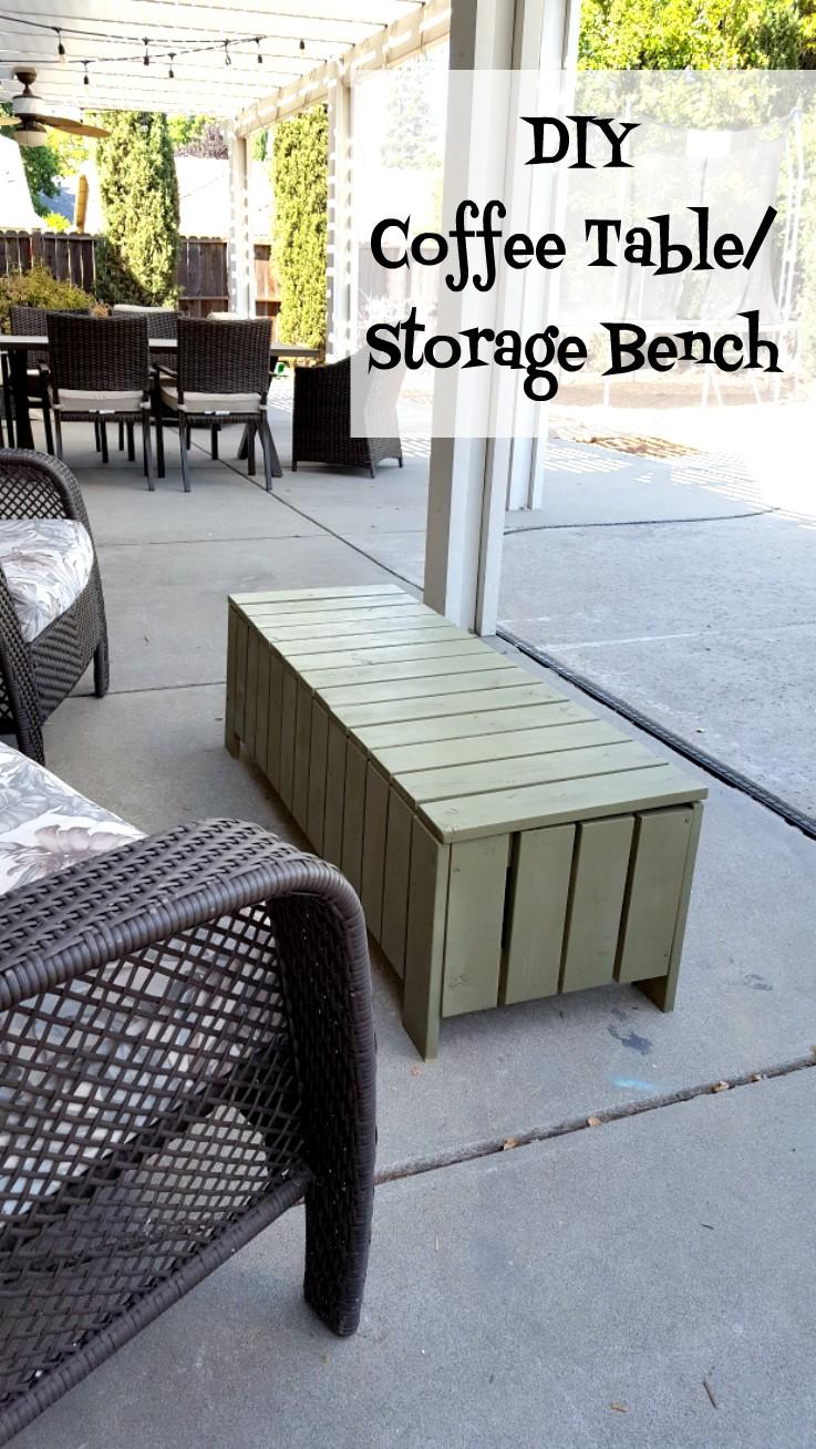 DIY outdoor coffee table storage