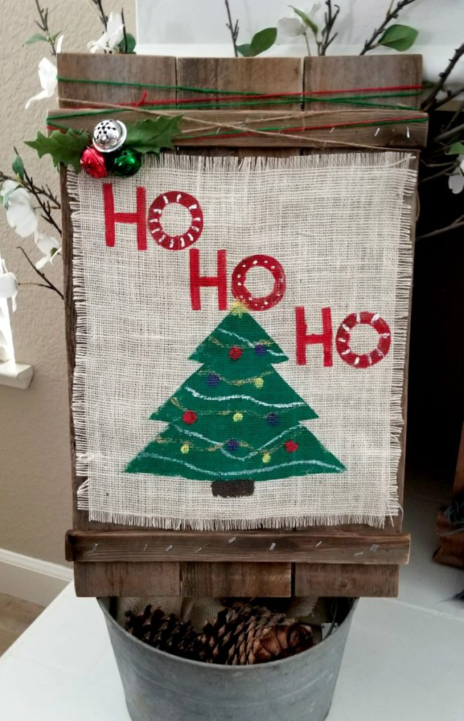 DIY Christmas burlap sign