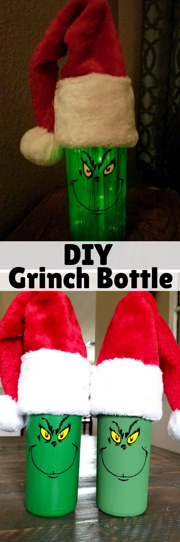 Painted Grinch Christmas wine bottles