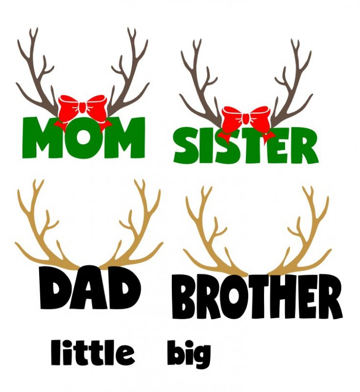Deer Head SVG Free File to Make Family Christmas Pajamas!