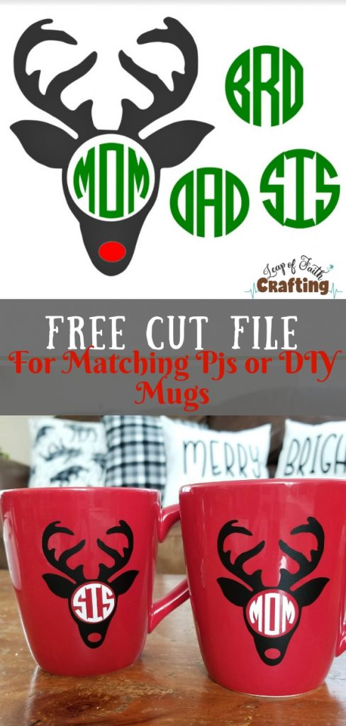 Grab a FREE SVG cut file to make your own matching pajamas, shirts, <smallor mugs! Perfect for gifts too! Also learn how to apply vinyl to mugs!