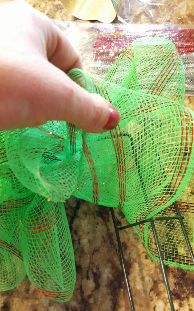 diy mesh christmas wreath from dollar store supplies