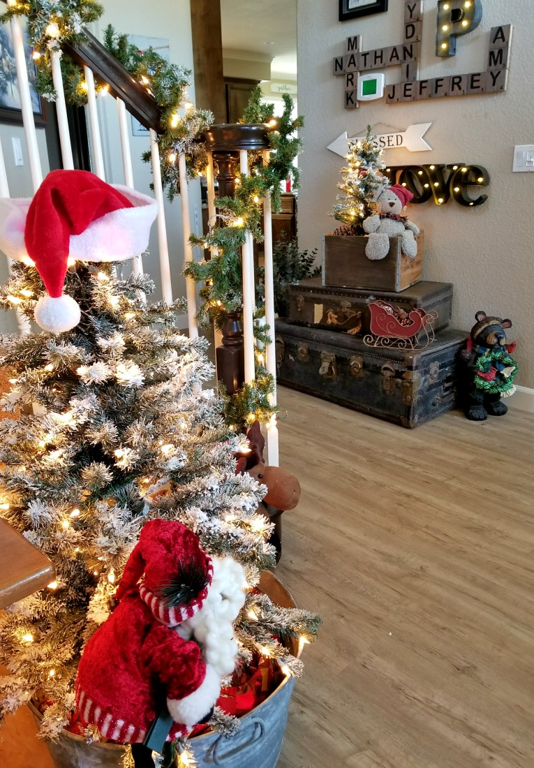 Christmas home tours with flocked tree