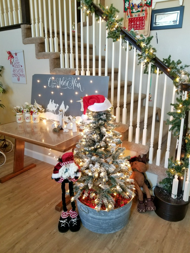 Christmas home decor with diy flocked christmas tree