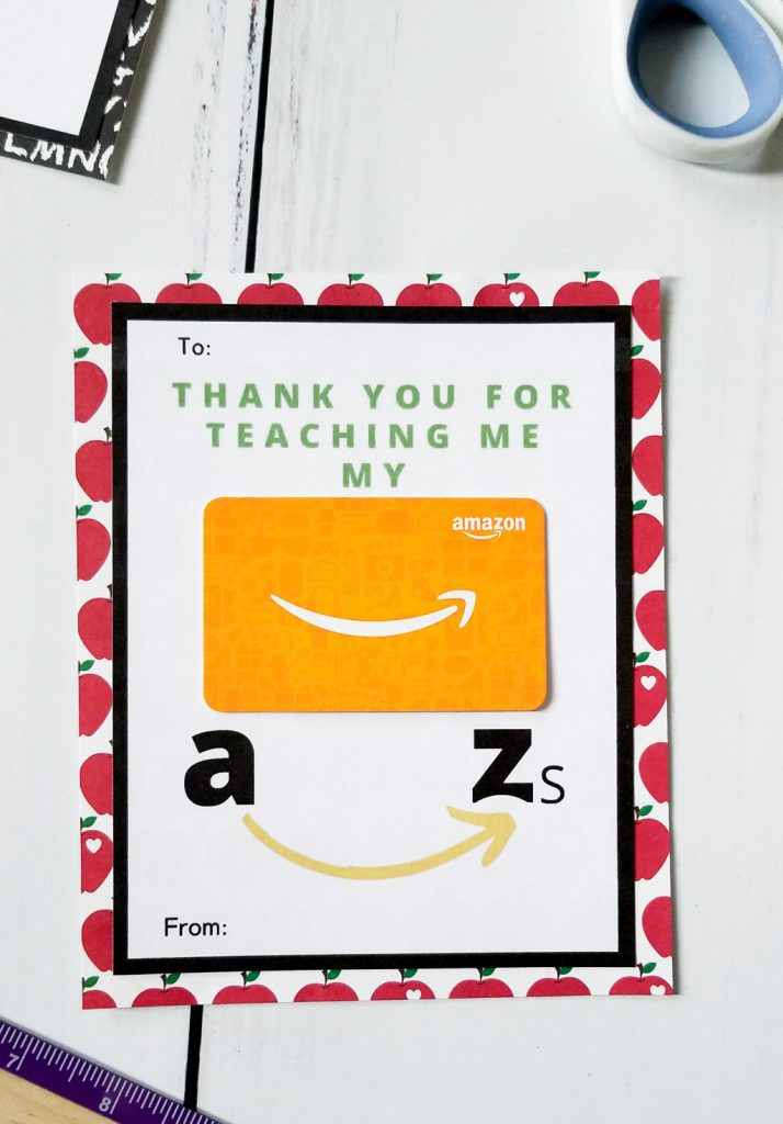 amazon gift card printable for teacher