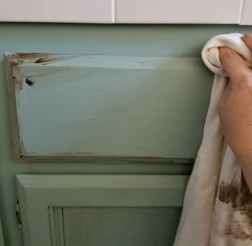 distressing oak chalk painted cabinets