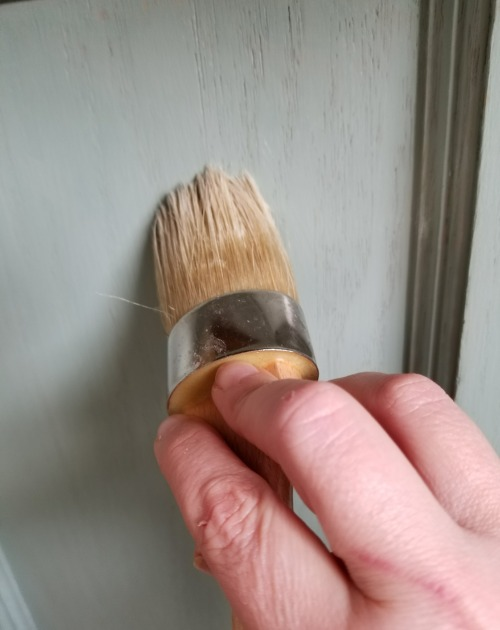 adding wax to chalk paint cabinets