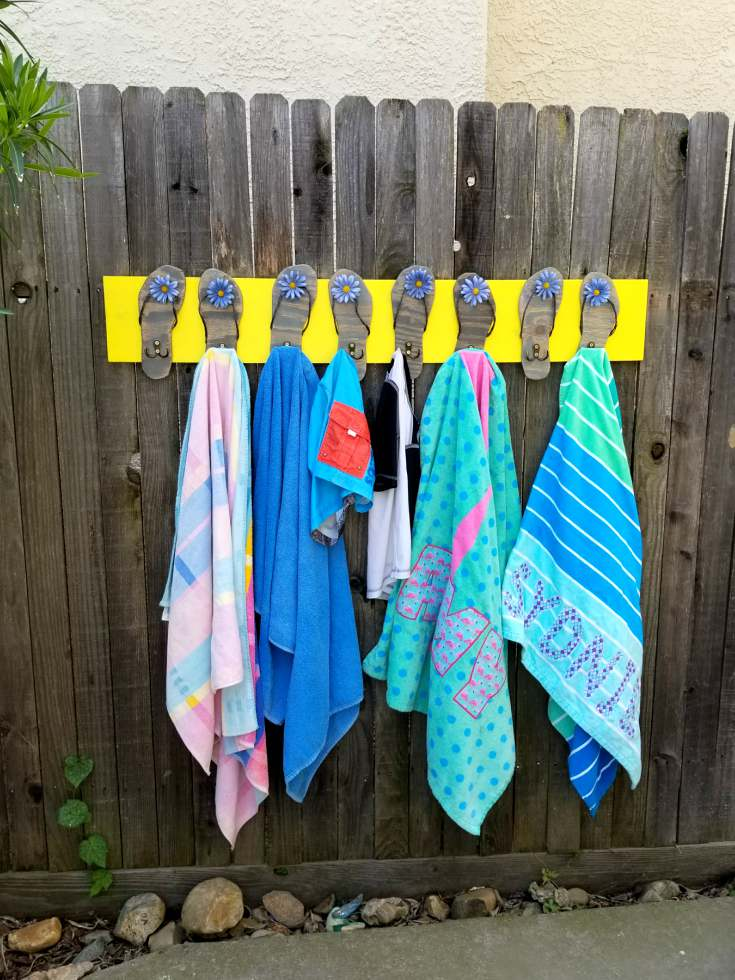 pool towel rack diy