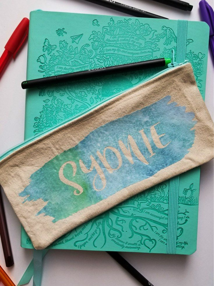 Patterned HTV Vinyl on an Easy Personalized DIY Pencil Pouch!!