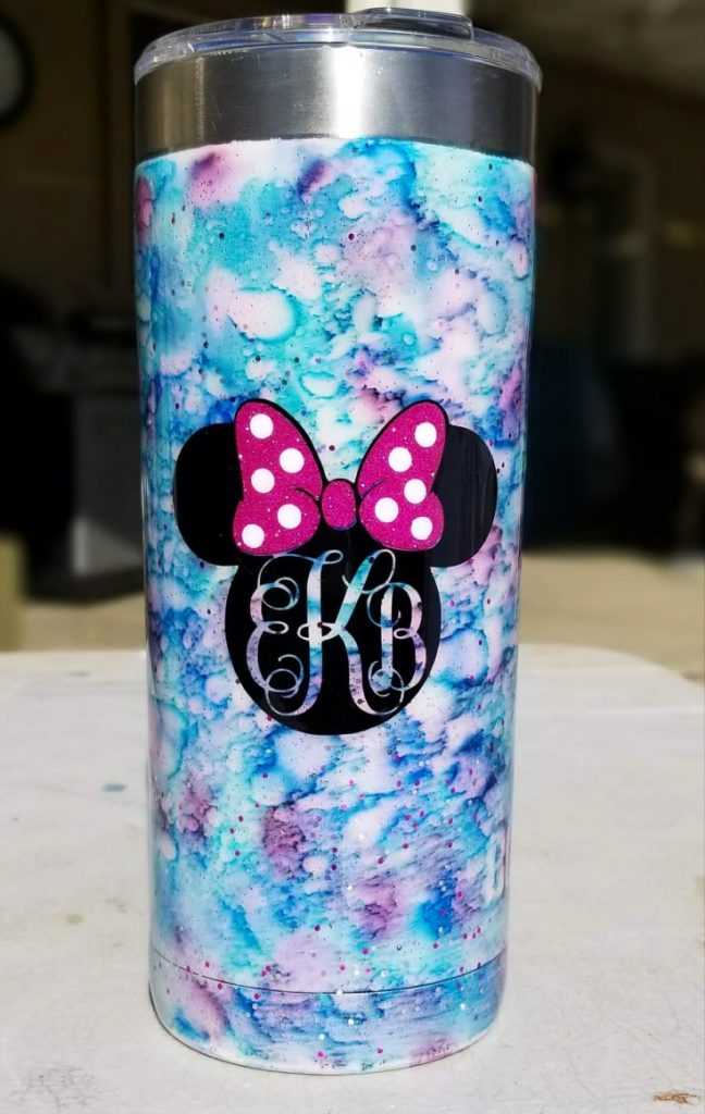 custom tumbler with minnie mouse monogrammed decal