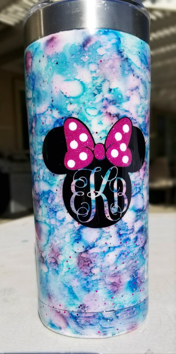 blue purple and pink watercolor effect tumbler