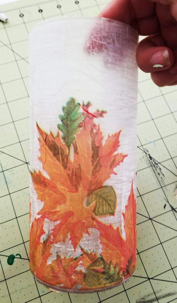 fall decoupaged napkin on glass vase from Dollar Tree