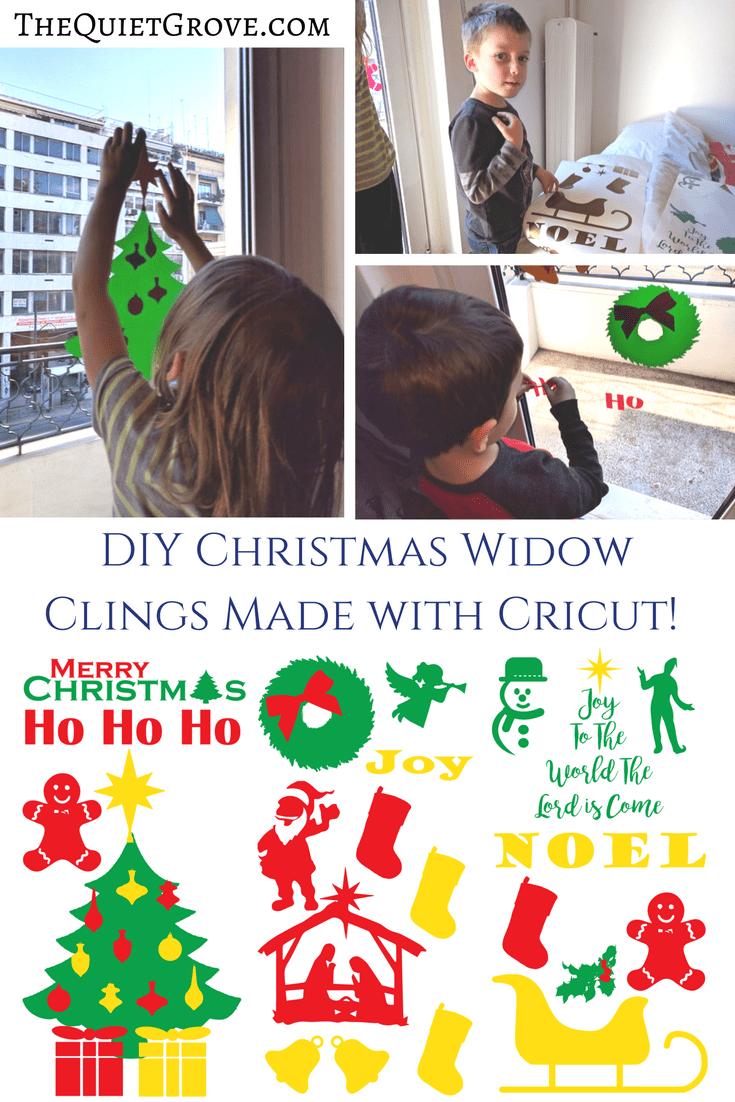 diy christmas widow clings made with cricut