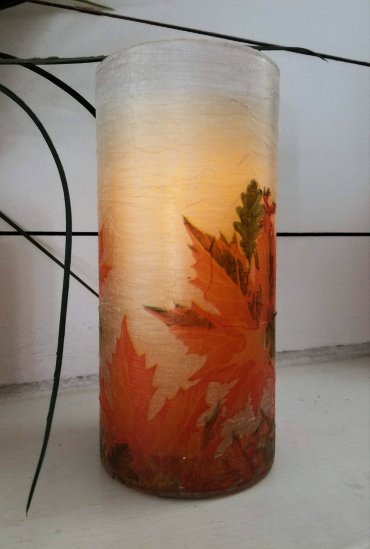 napkin decoupage glass vase with candle inside