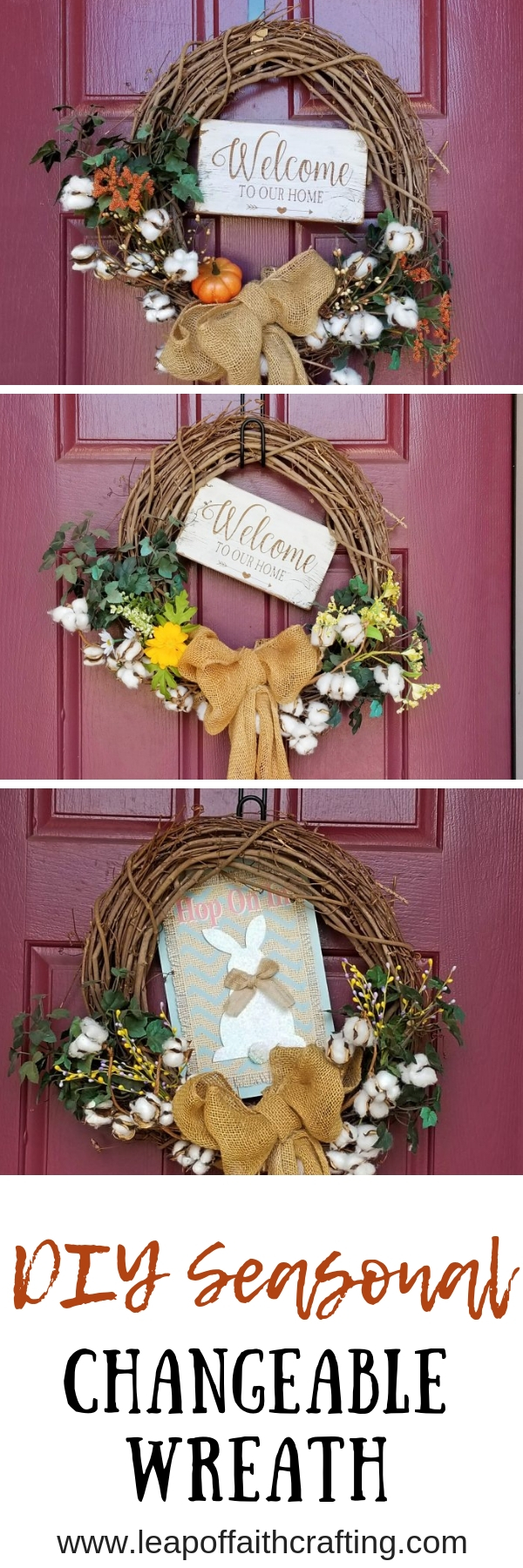 Learn how to make budget friendly changeable wreath for every season!  You'll love how easy this DIY grapevine wreath is to change for each holiday.