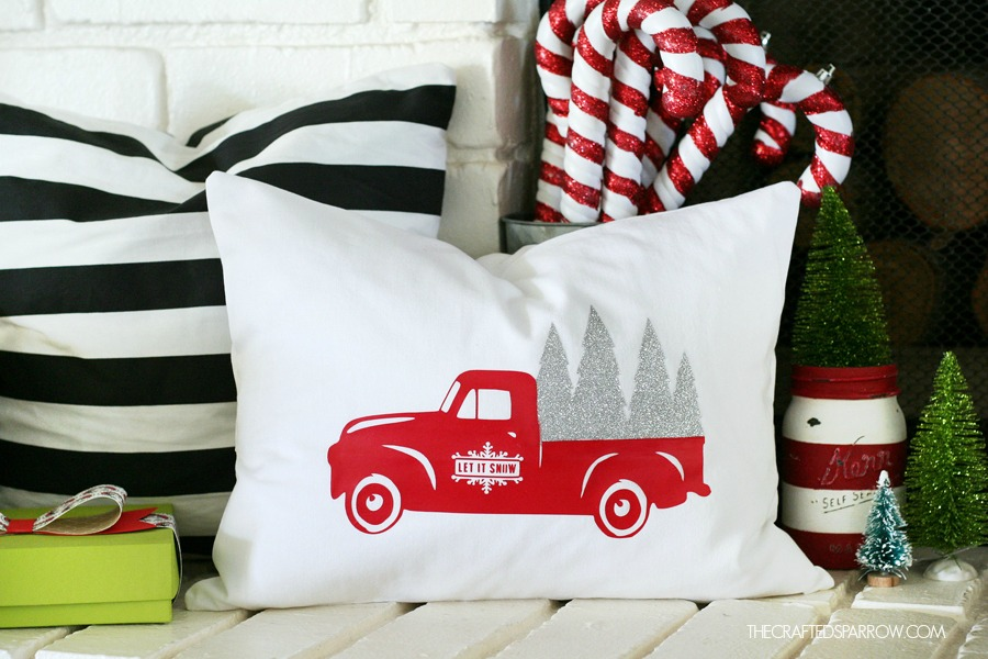 vintage truck Cricut christmas pillow