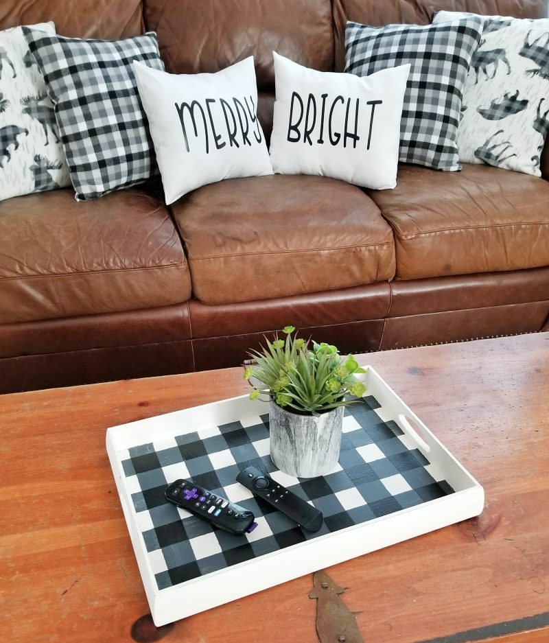 buffalo plaid decor with painted tray and diy pillows