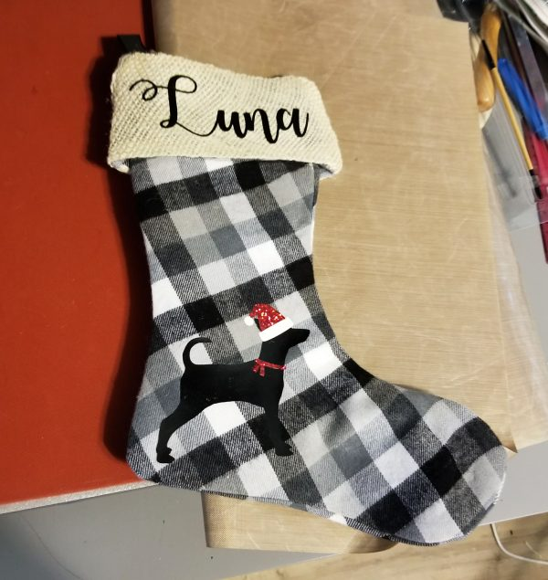 buffalo plaid stocking with puppy and name