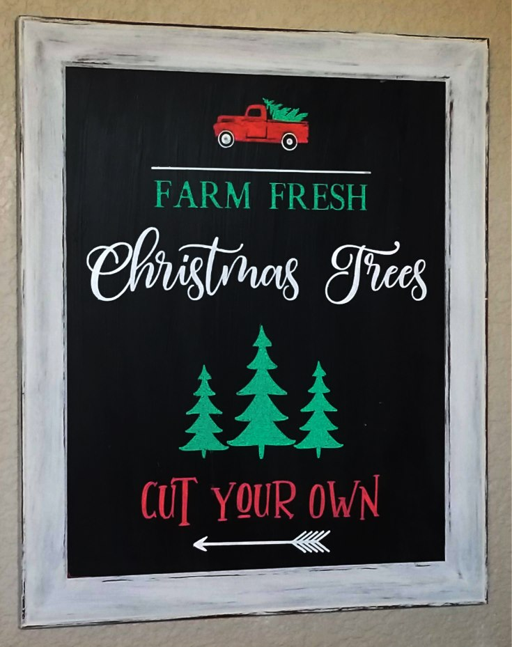 farm fresh christmas trees chalkboard sign
