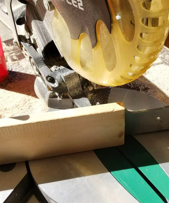 cutting wood off square with miter saw