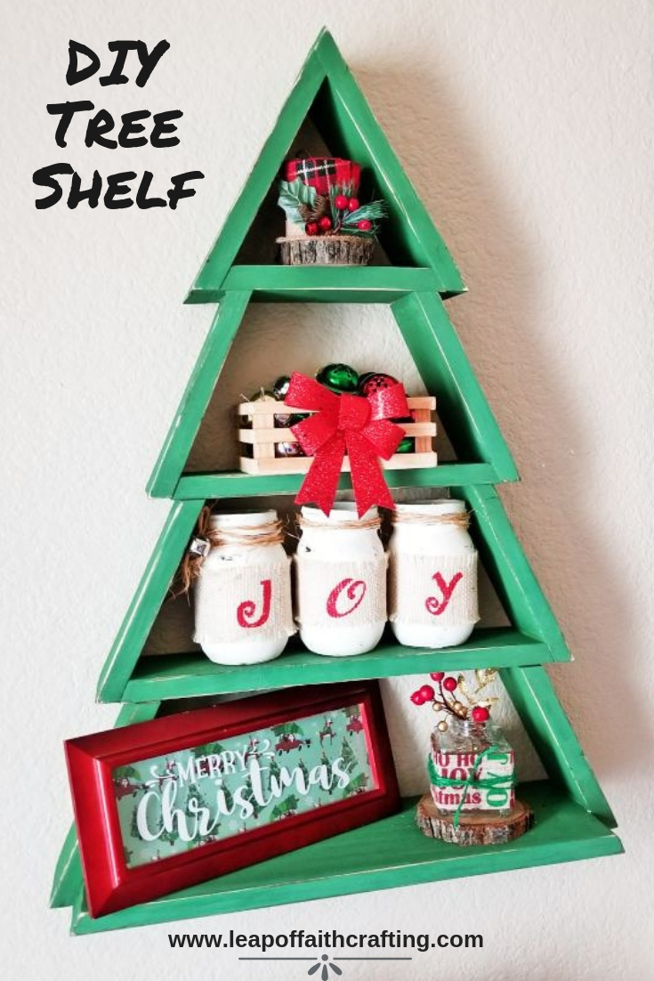 Make DIY Christmas decor on a budget! I made this amazing Christmas tree wood shelf from Ana White's free plans from scrap wood! #christmas #woodworking #christmastree #anawhite