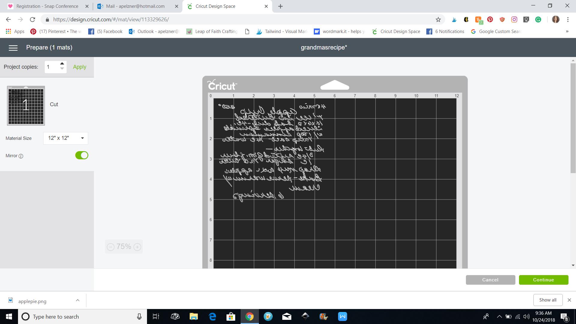 screenshot of cds handwritten recipe