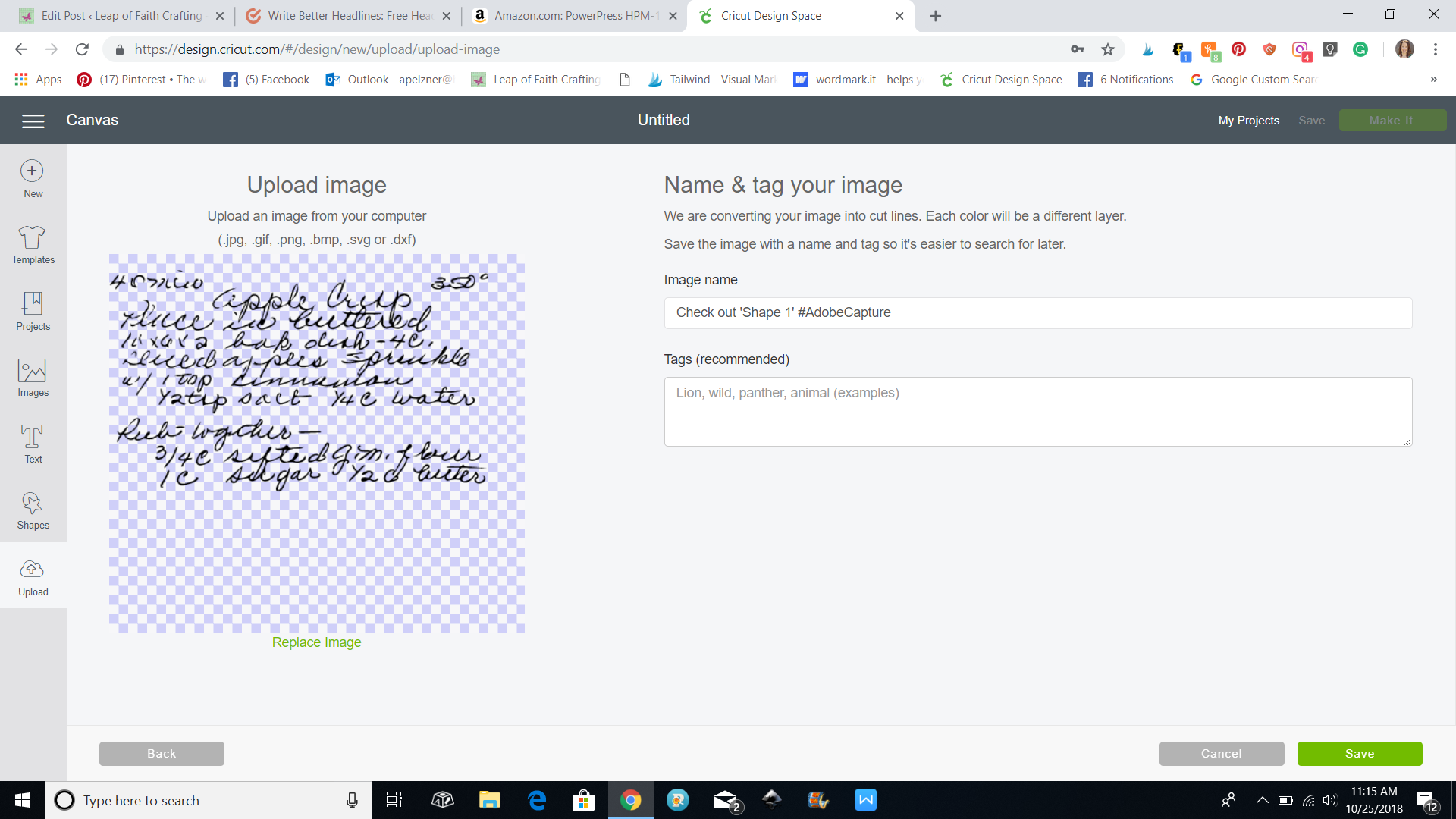 screenshot of uploading cricut handwritten recipe to design space
