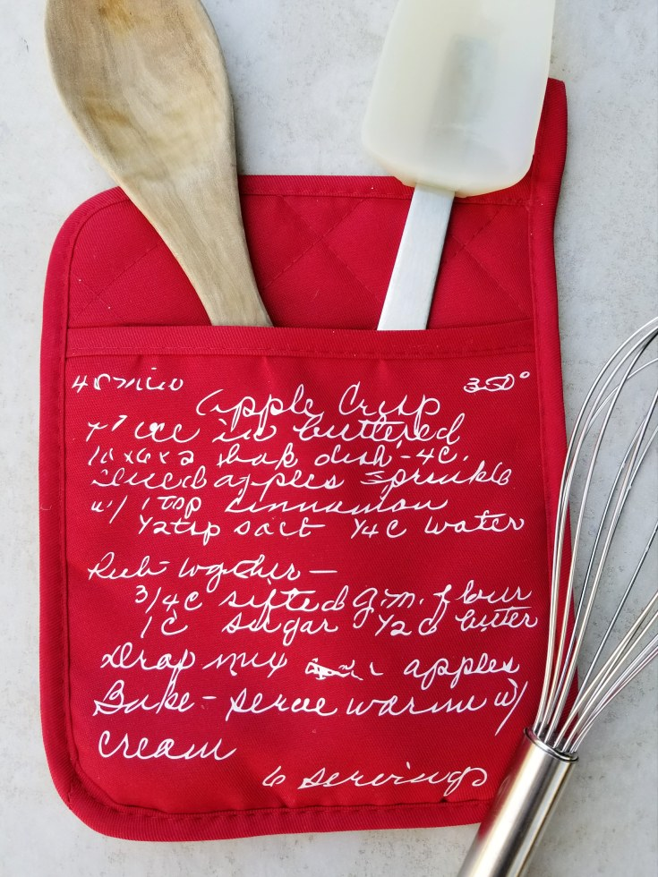 sentimental gifts old recipe on oven mitt