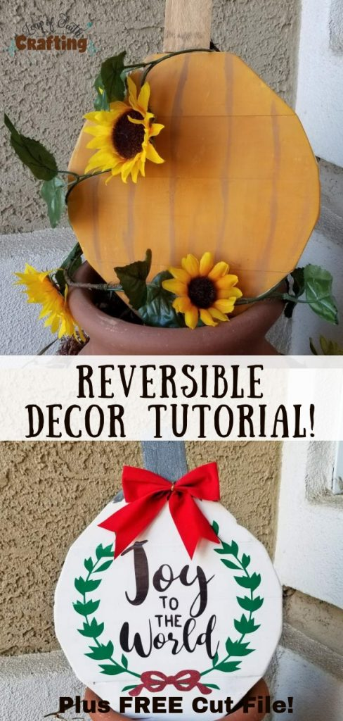 fall and Christmas reversible wooden decorations pin
