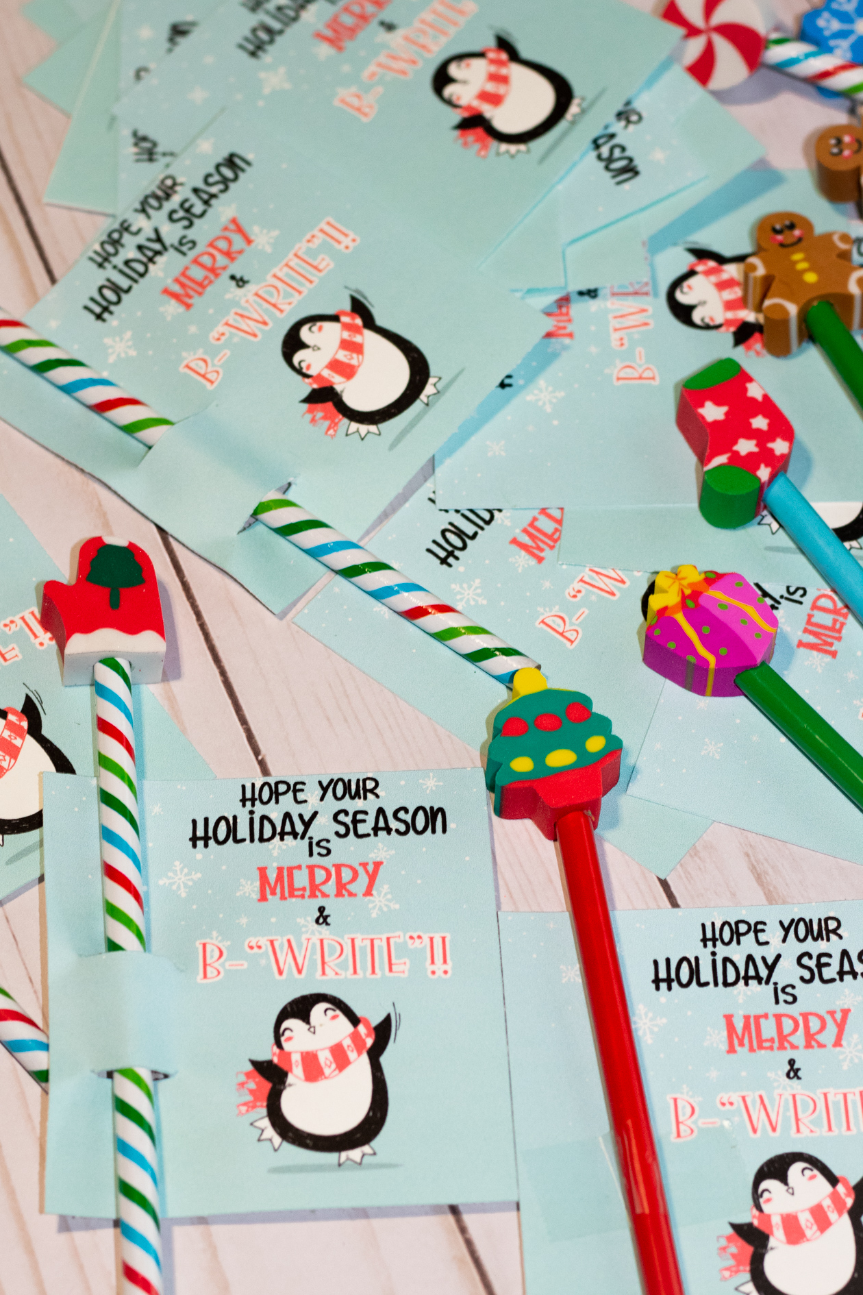 free printable christmas tag to add pencils too