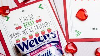 Free Printable for Classmates:  Fruit Snack Valentines!