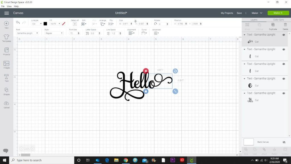 how to add flourishes to fonts in cricut design space