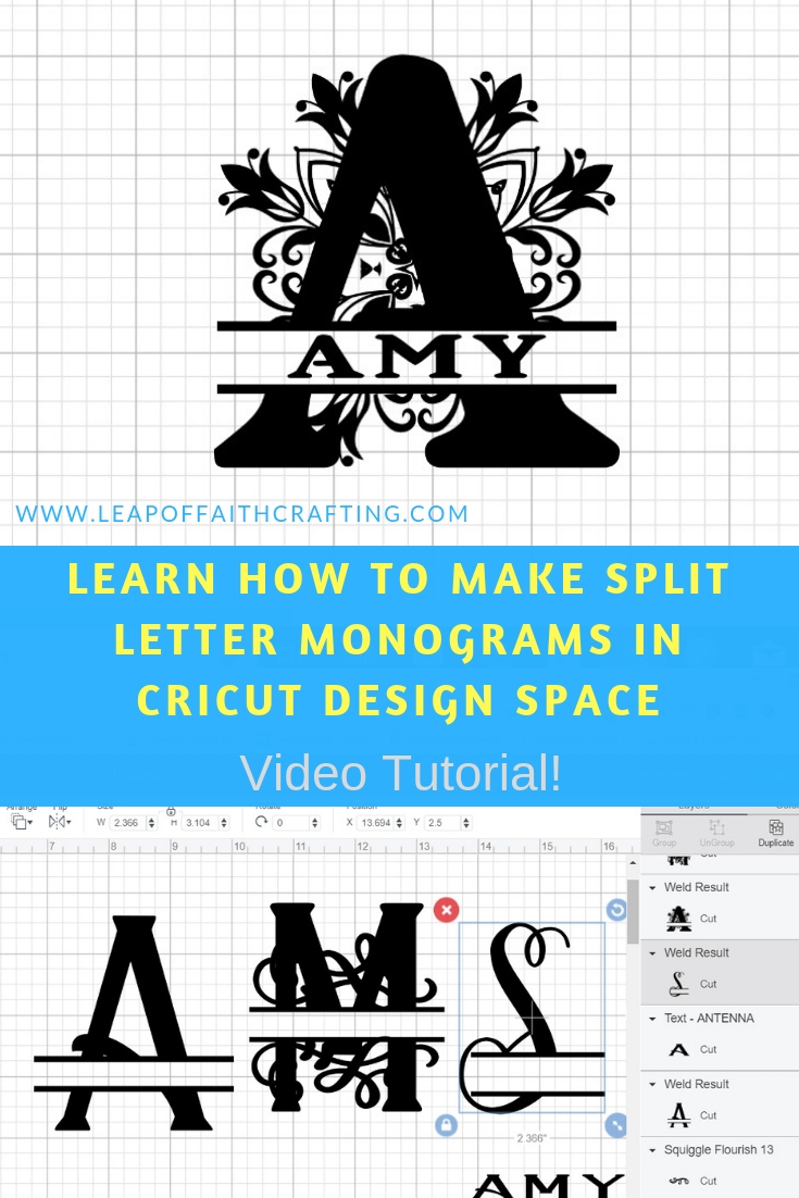 Learn how to make a split letter monogram in this Cricut Design Space tutorial. DIY monograms are easy with the slice tool and weld tool. Watch a CDS video tutorial to learn how! #cricutdesignspace #monogram