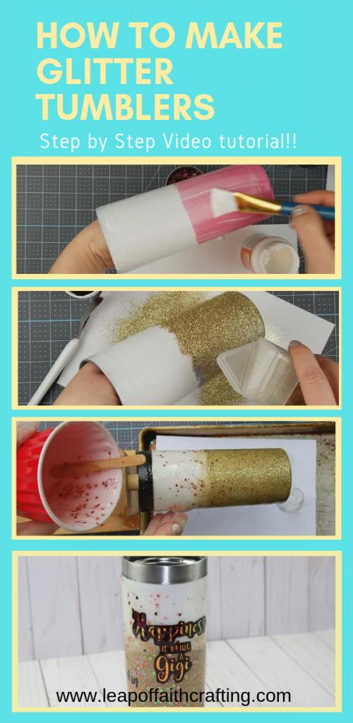 DIY Glitter Tumblers start to finish. #tumblers #glitter #freesvgfiles #cricut