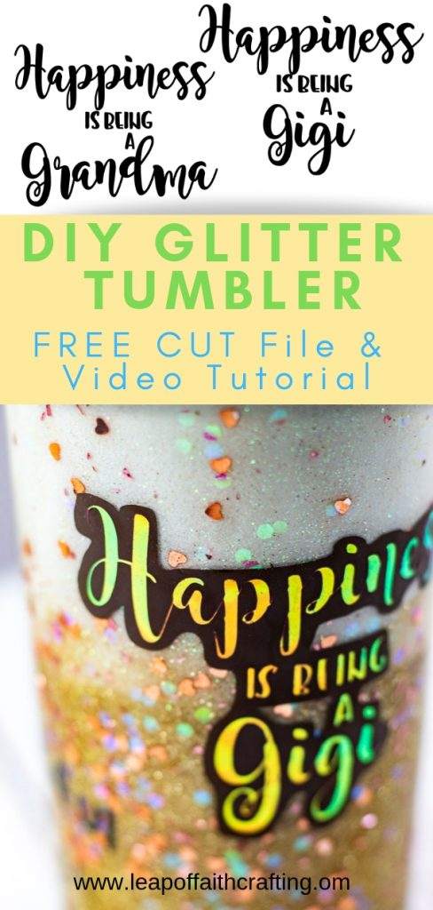 How to Make Glitter Tumblers Ombre with Decals of Your Own Handwriting! Entire process video tutorial plus FREE SVG cut file! #tumblers #diygifts #glitter #happiness