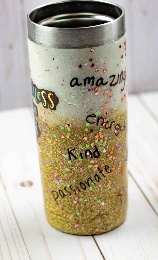 ombre glitter tumblers with vinyl decals