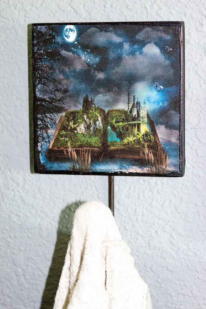 decoupage on wood fantasy picture